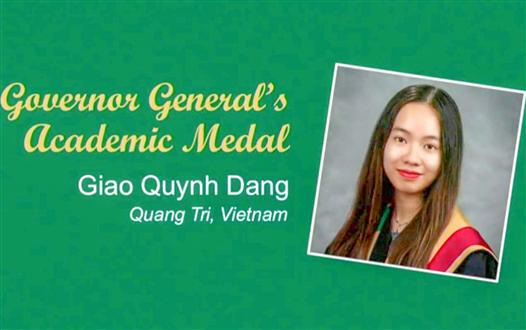 Dang Quynh Giao - Quang Tri student received the Medal of Governor General of Canada